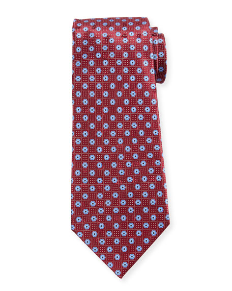 Ermenegildo Zegna Men's Hexagon-Print Silk Tie, Red