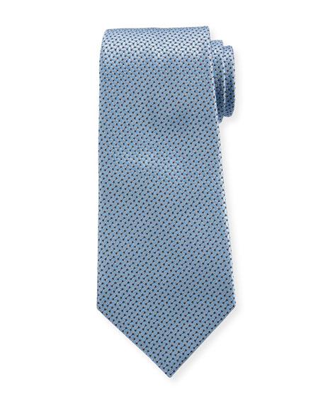 Ermenegildo Zegna Men's Chain Links Silk Tie, Light Blue