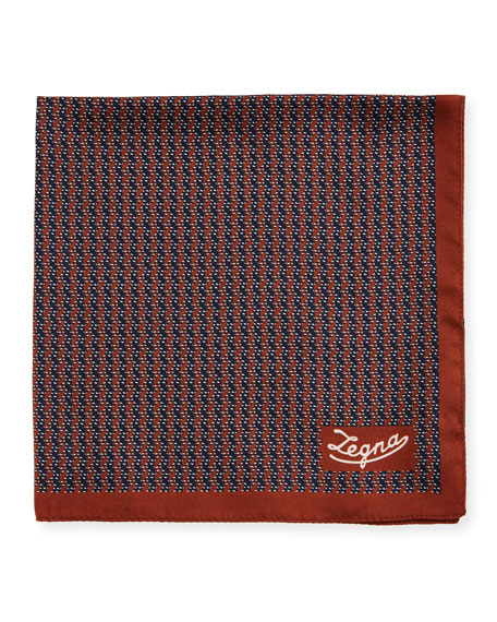 Ermenegildo Zegna Men's Silk Chevron Pocket Square, Rust
