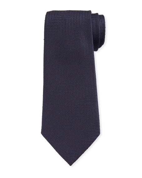 Ermenegildo Zegna Men's Large Chevron Silk Tie, Navy