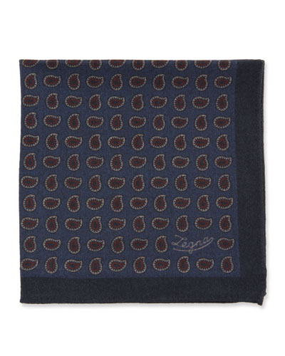 Men's Blue Pines Reversible Wool Pocket Square