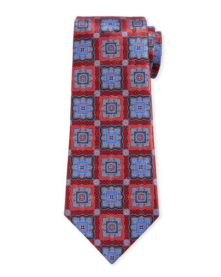 Ermenegildo Zegna Men's Medallion-Print Silk Tie, Red