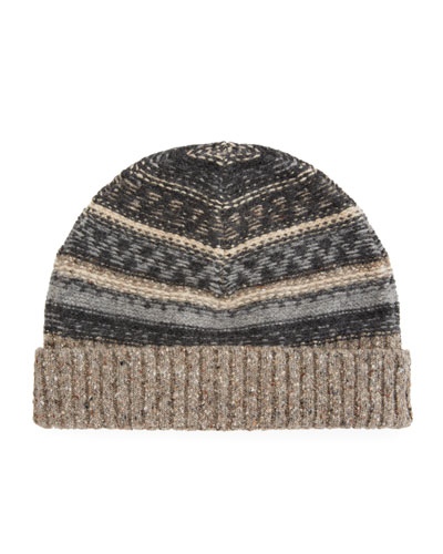 Men's Fair Isle Wool Beanie Hat