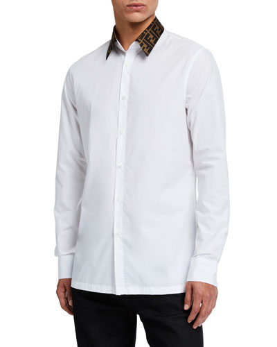 Men's Solid Sport Shirt w/ FF Collar