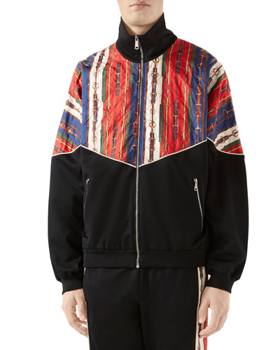 Men's Chain-Print Technical Jersey Track Jacket