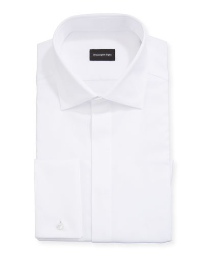Men's Solid Hidden-Button Formal Dress Shirt