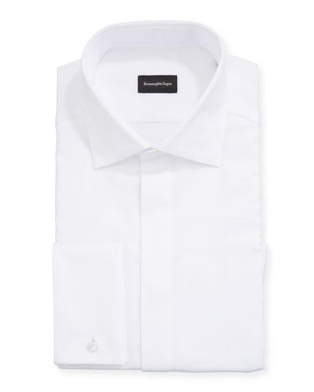 Ermenegildo Zegna Men's Solid Hidden-Button Formal Trim-Fit Dress Shirt