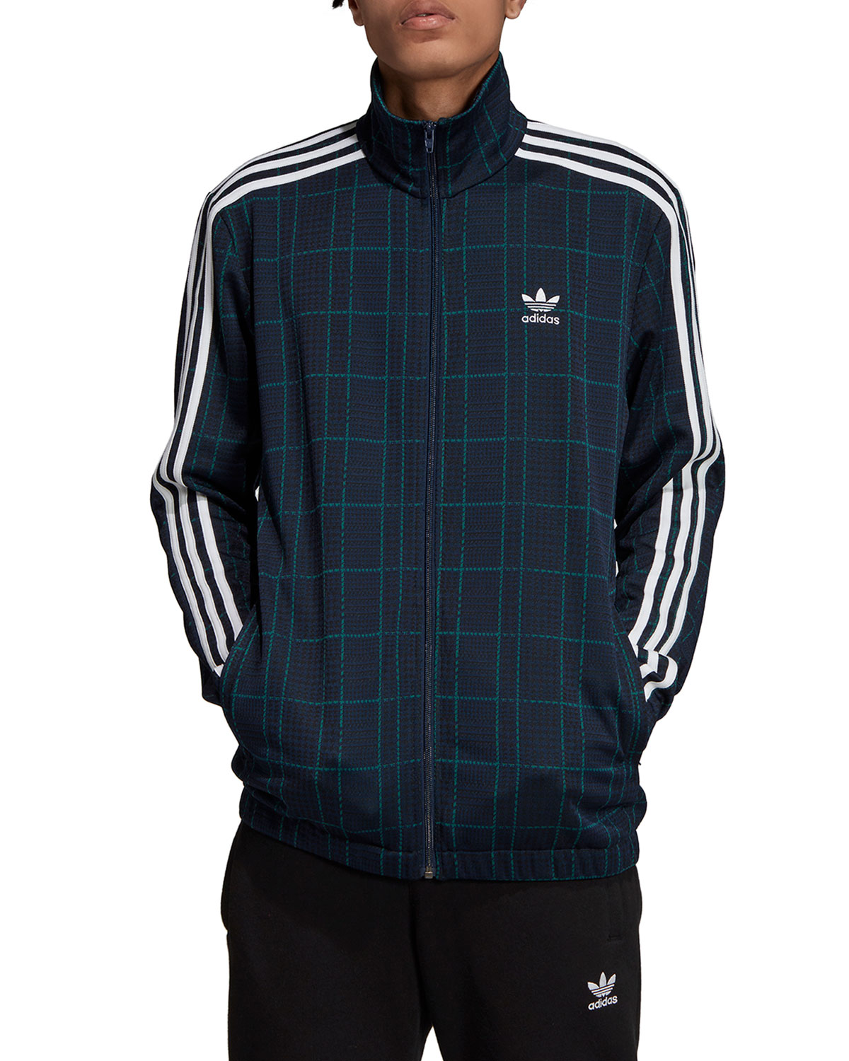 Adidas Originals Jackets MEN'S TARTAN PLAID 3-STRIPES TRACK JACKET