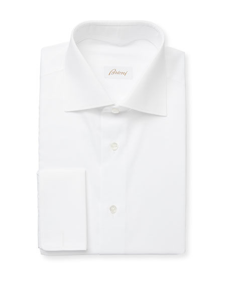 Brioni Men's Horizontal-Textured Cotton Dress Shirt
