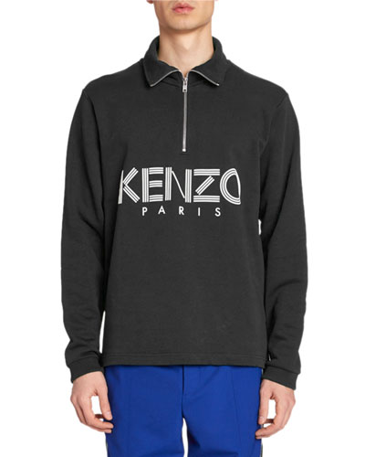 Men's Logo-Print Quarter-Zip Sweater