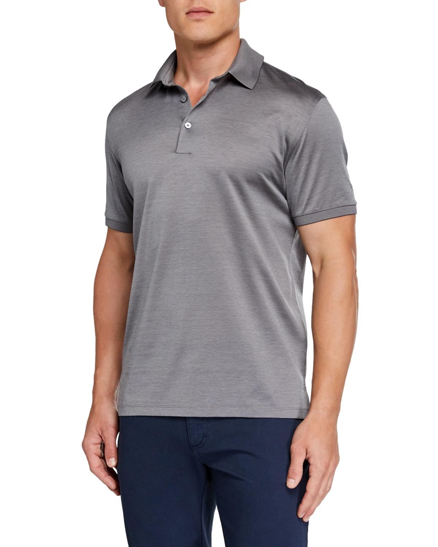Ermenegildo Zegna T-shirts MEN'S NATURAL PIQUE POLO SHIRT