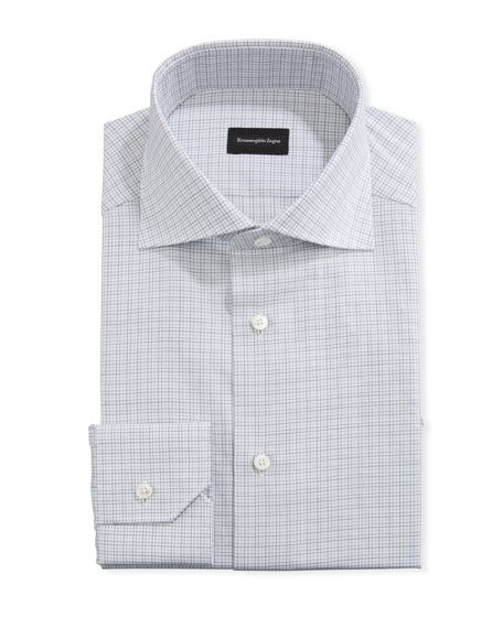 Ermenegildo Zegna Men's Graph Check Trim-Fit Dress Shirt