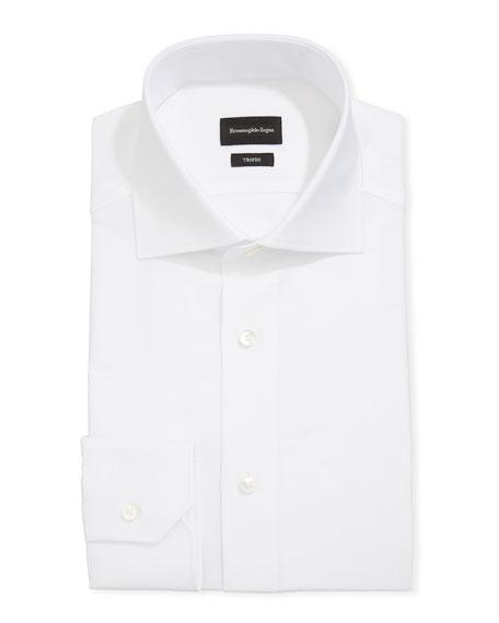 Ermenegildo Zegna Men's Trofeo Herringbone Cotton Trim-Fit Dress Shirt, White