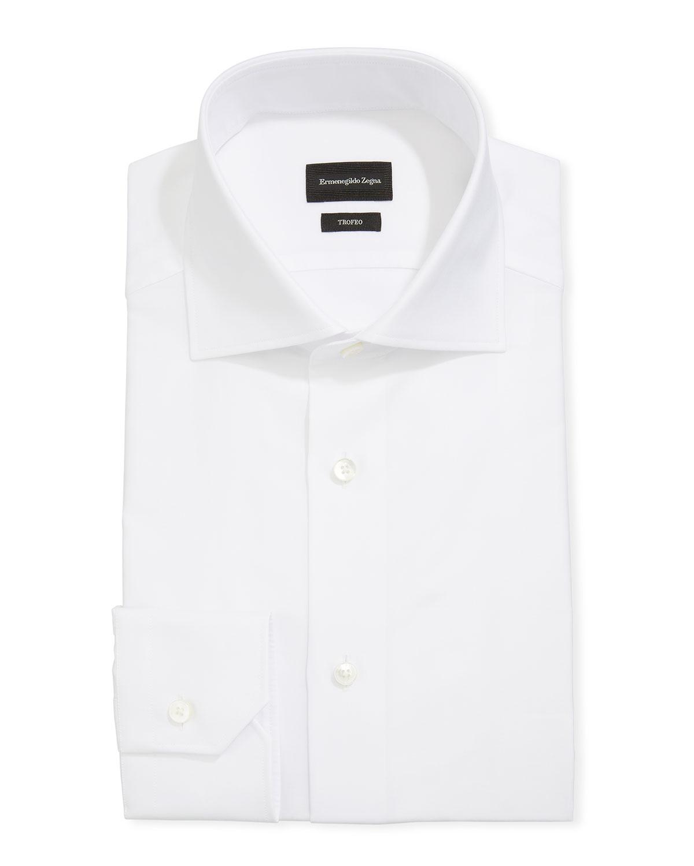 Ermenegildo Zegna Dresses MEN'S TROFEO HERRINGBONE COTTON DRESS SHIRT, WHITE
