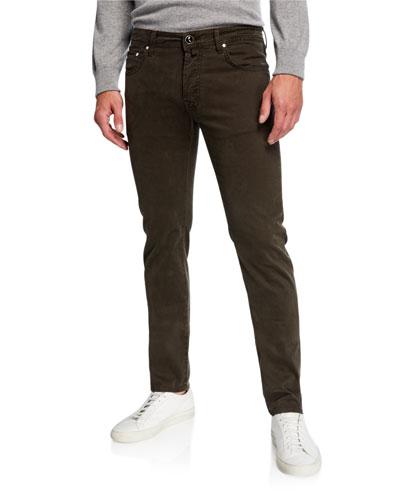 Men's Brushed Denim 5-Pocket Jeans, Green