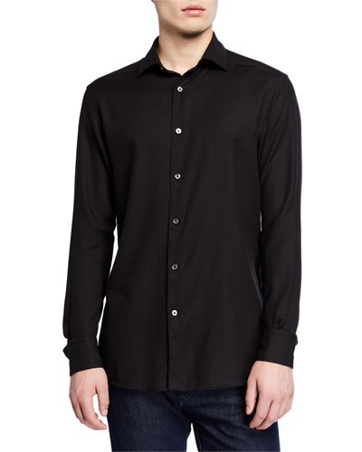 Men's Cashmere Twill Trim-Fit Sport Shirt