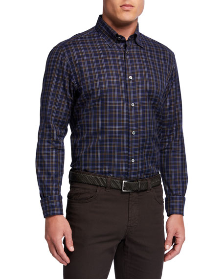 Brioni Men's Check Sport Shirt