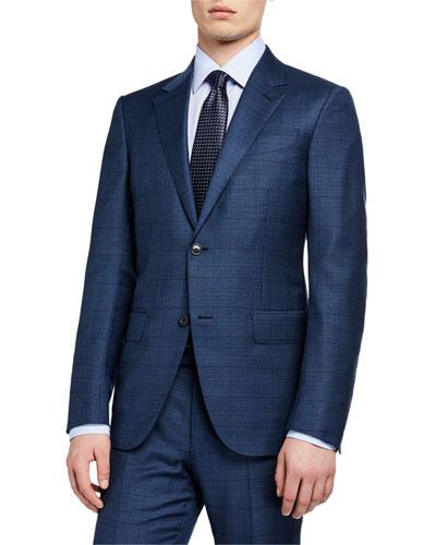 Men's Windowpane Wool/Silk Two-Piece Suit, Blue