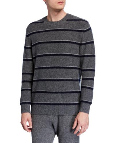 Men's Striped Cashmere Crewneck Sweater
