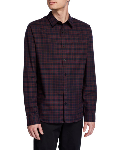Vince Men's Brushed Shadow Plaid Sport Shirt
