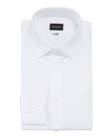 Ermenegildo Zegna Men's Solid Cento Fili Cotton Regular-Fit Dress Shirt