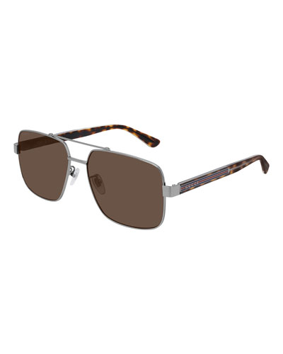 Men's Tortoiseshell Sunglasses with Signature Web