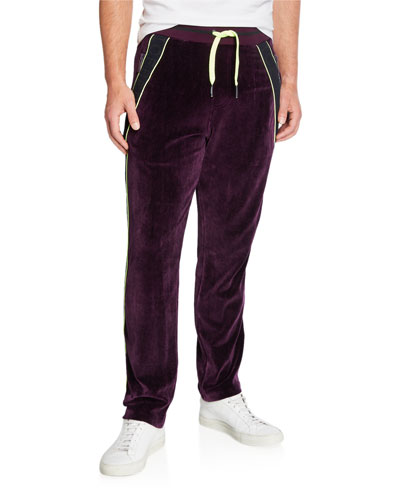 Men's Velvet Neon Side-Stripe Track Pants