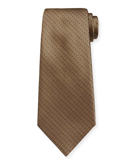 Ermenegildo Zegna Tonal Circles Silk Tie, Yellow