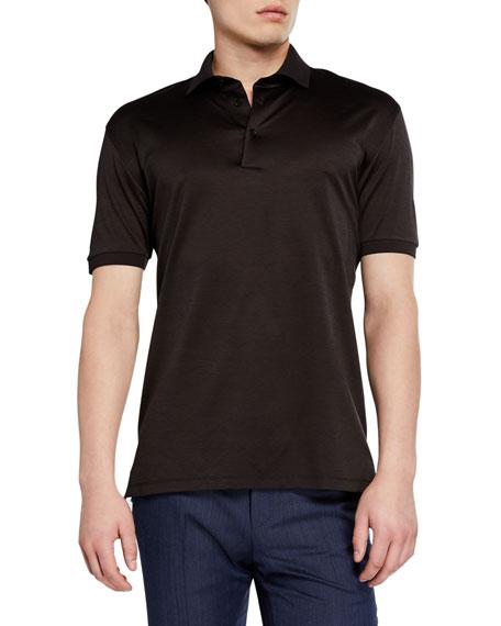 Ermenegildo Zegna Men's Pique Regular-Fit Polo Shirt, Dark Brown
