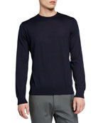 Ermenegildo Zegna Men's Lightweight Cashmere/Silk Sweater, Navy