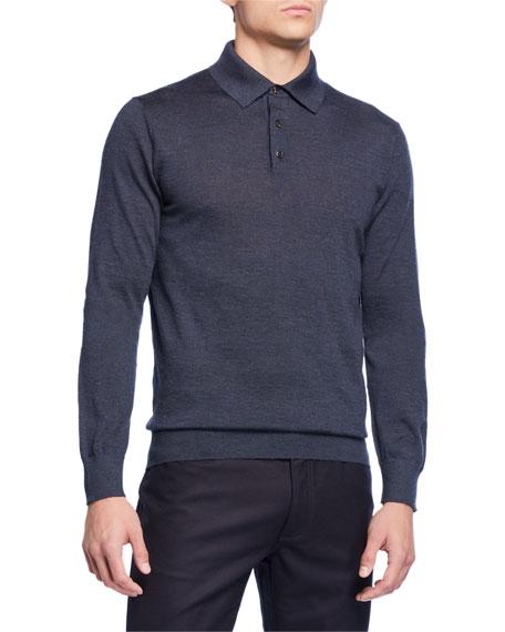 Ermenegildo Zegna Men's Long-Sleeve Cashmere-Silk Polo Shirt, Teal