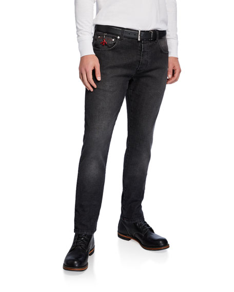 Isaia Men's Black-Wash Tapered Jeans
