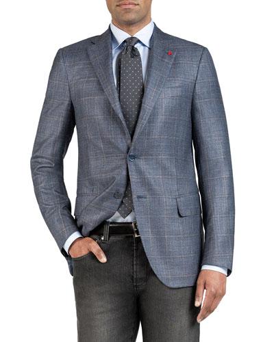 Men's Silk-Cashmere Windowpane Check Sport Coat