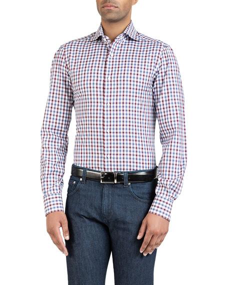 Isaia Men's Two-Tone Check Sport Shirt