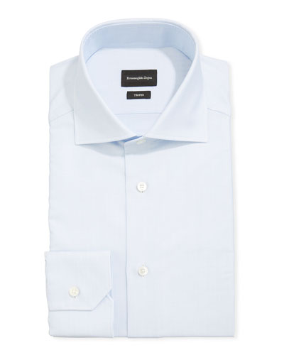 Men's Trofeo Herringbone Cotton Dress Shirt, Light Blue