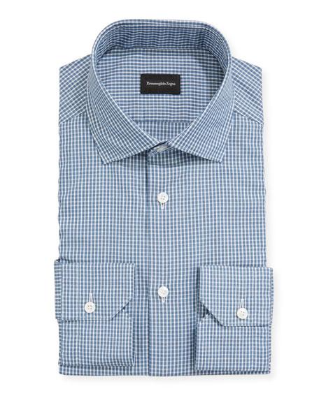 Ermenegildo Zegna Men's Gingham Check Trim-Fit Sport Shirt
