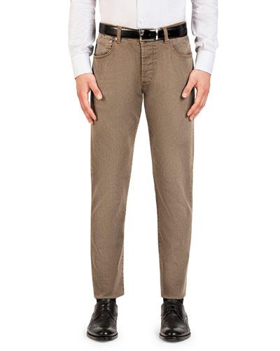 Men's Straight-Leg Washed Denim Jeans, Light Brown