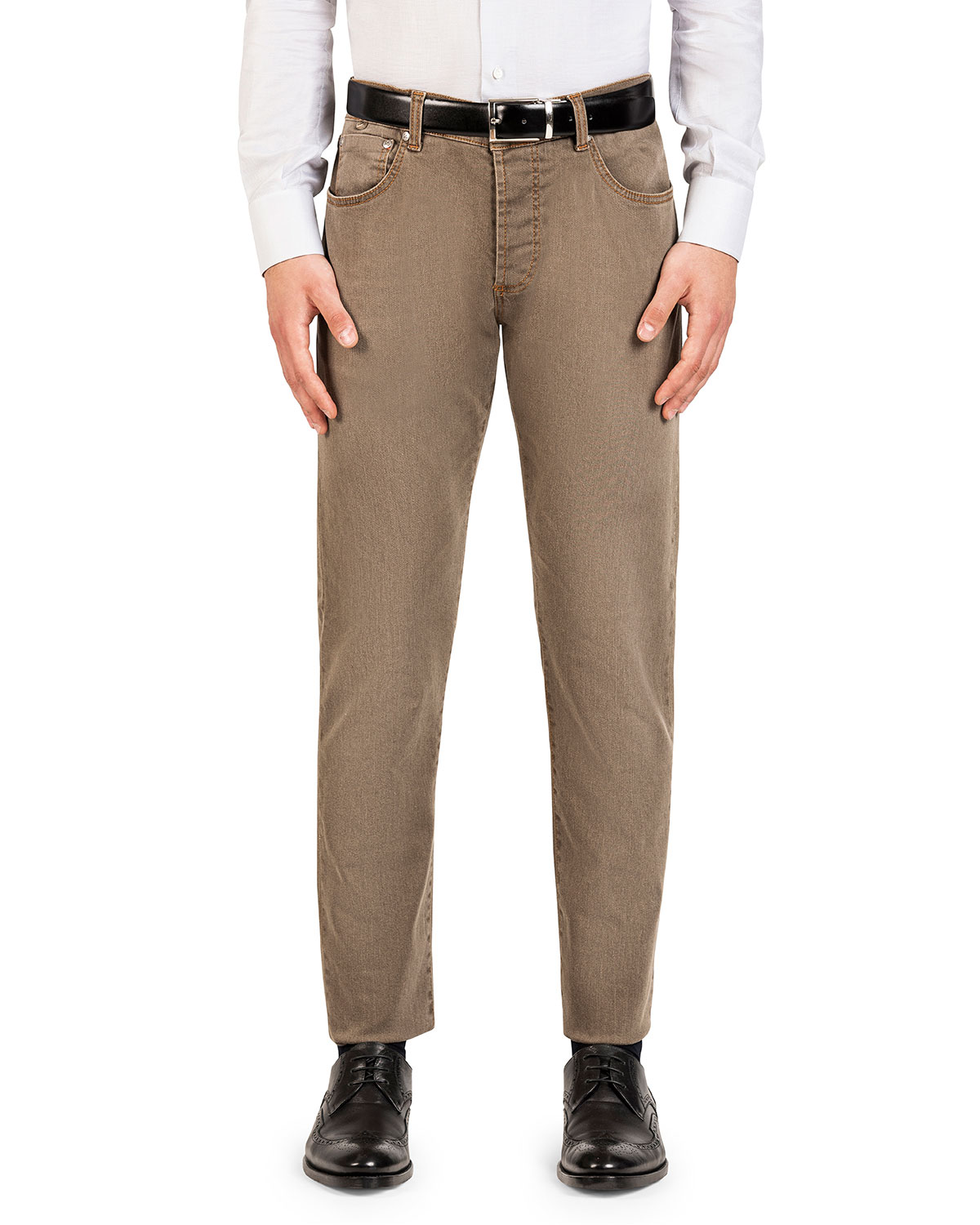 Isaia Jeans MEN'S STRAIGHT-LEG WASHED DENIM JEANS, LIGHT BROWN