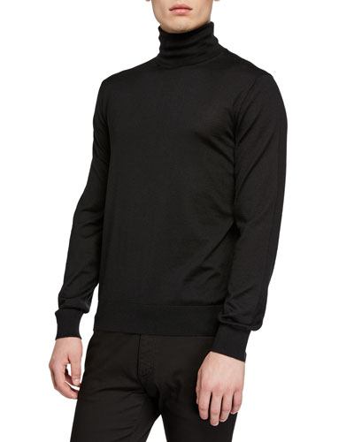 Men's Cashmere-Silk Turtleneck Sweater