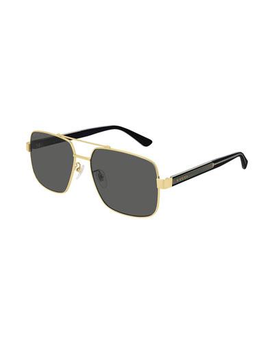 Men's Signature Web Two-Tone Aviator Sunglasses