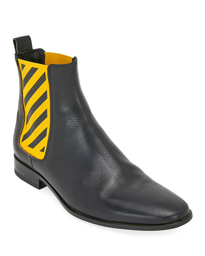 Men's Striped-Gore Leather Chelsea Boot