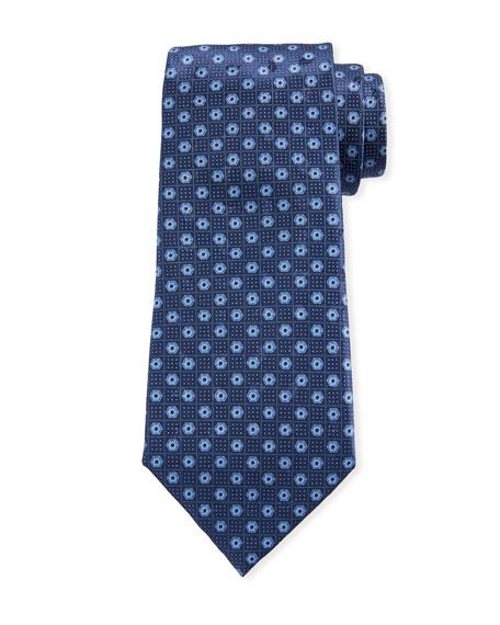 Ermenegildo Zegna Men's Hexagon-Print Silk Tie, Navy