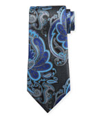 Ermenegildo Zegna Exploded Paisley Silk Tie, Gray