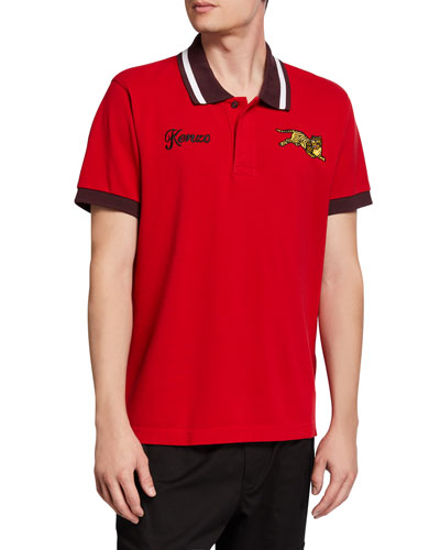 Men's Jumping Tiger Polo Shirt with Contrast Detail