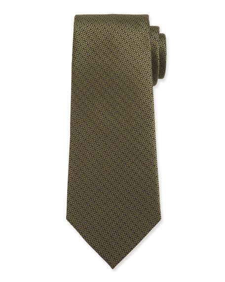 Ermenegildo Zegna Men's Tonal Circles Silk Tie, Green