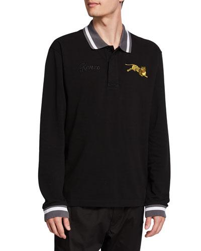 Men's Jumping Tiger Long-Sleeve Polo Shirt w/ Stripe Detail