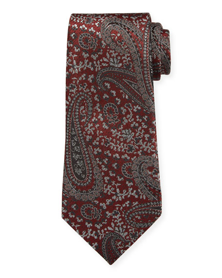 Ermenegildo Zegna Woven Paisley Silk Tie, Red