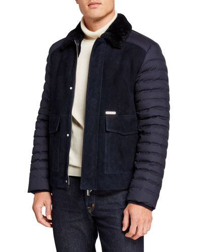 Men's Quilted-Sleeve Leather Jacket