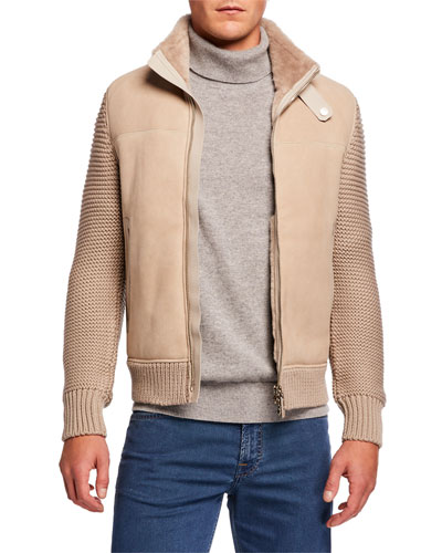 Men's Shearling-Lined Leather & Wool Blouson Jacket