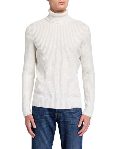 Men's Mini-Cable Cashmere-Silk Turtleneck Sweater